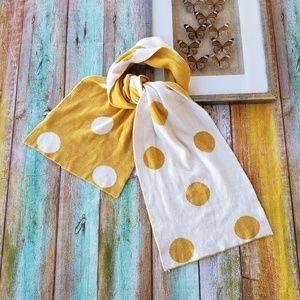 Modcloth Yellow & White Polka Dot Winter Scarf S